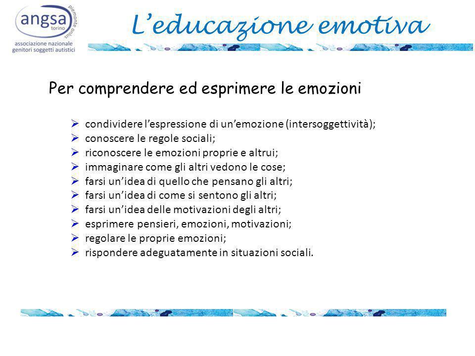 L'educazione emotiva  condividere l'espressione di un'emozione (intersoggettività);  conoscere le regole sociali;  riconoscere le emozioni proprie