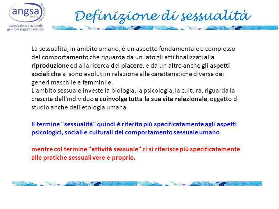 Definizione di sessualità La sessualità, in ambito umano, è un aspetto fondamentale e complesso del comportamento che riguarda da un lato gli atti finalizzati alla riproduzione ed alla ricerca del piacere, e da un altro anche gli aspetti sociali che si sono evoluti in relazione alle caratteristiche diverse dei generi maschile e femminile.