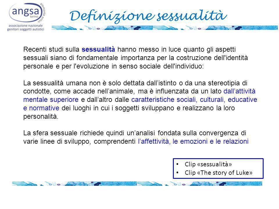 Definizione sessualità Recenti studi sulla sessualità hanno messo in luce quanto gli aspetti sessuali siano di fondamentale importanza per la costruzi