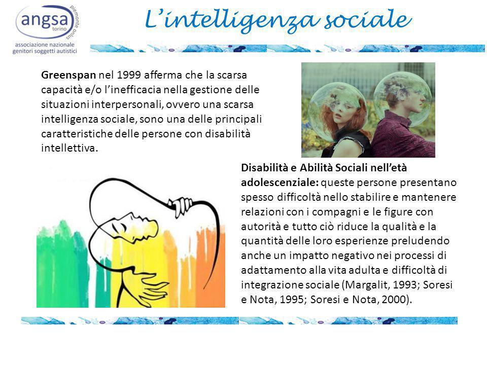 L'intelligenza sociale Greenspan nel 1999 afferma che la scarsa capacità e/o l'inefficacia nella gestione delle situazioni interpersonali, ovvero una scarsa intelligenza sociale, sono una delle principali caratteristiche delle persone con disabilità intellettiva.