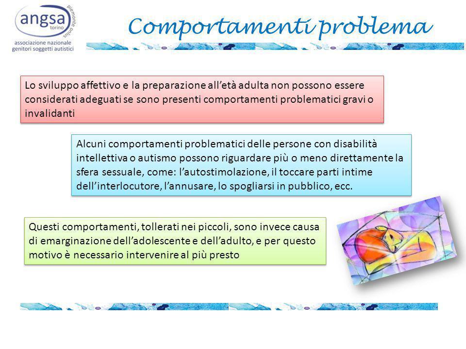 Comportamenti problema Lo sviluppo affettivo e la preparazione all'età adulta non possono essere considerati adeguati se sono presenti comportamenti p