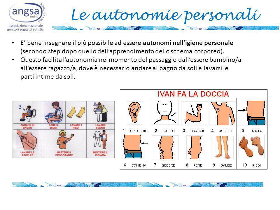 Le autonomie personali E' bene insegnare il più possibile ad essere autonomi nell'igiene personale (secondo step dopo quello dell'apprendimento dello schema corporeo).