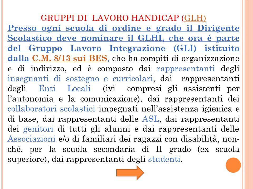 GRUPPI DI LAVORO HANDICAP (GLH)GLH) Presso ogni scuola di ordine e grado il Dirigente Scolastico deve nominare il GLHI, che ora è parte del Gruppo Lavoro Integrazione (GLI) istituito dalla C.M.
