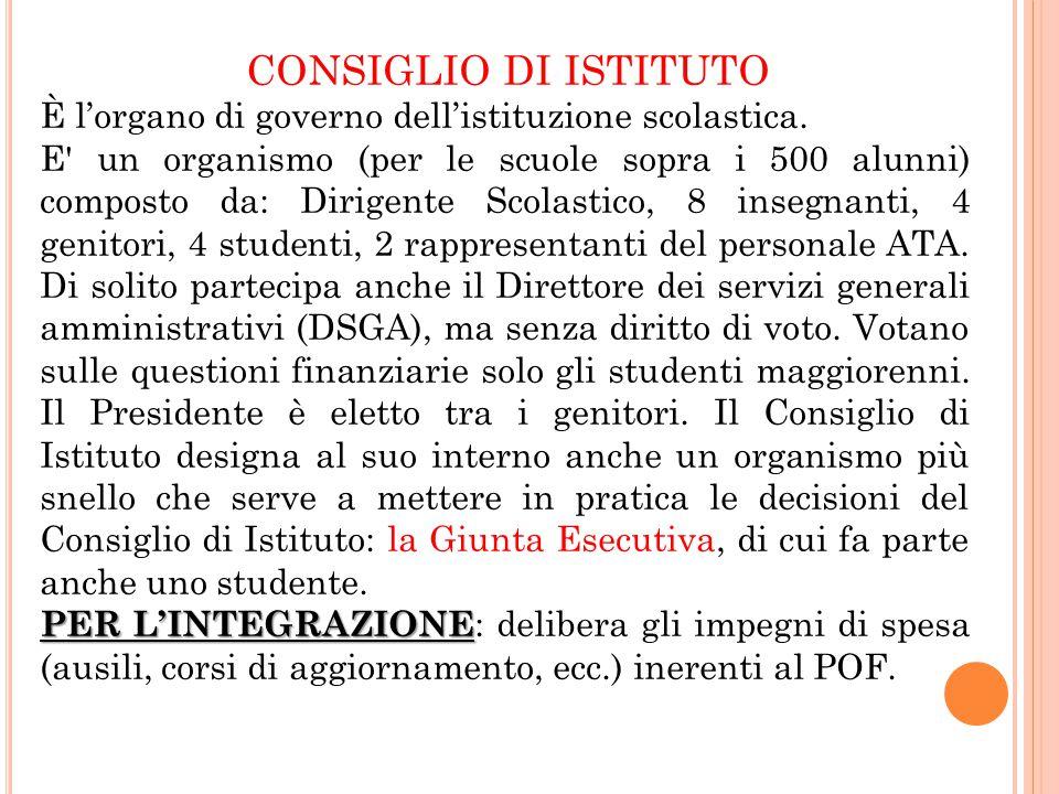CONSIGLIO DI ISTITUTO È l'organo di governo dell'istituzione scolastica.