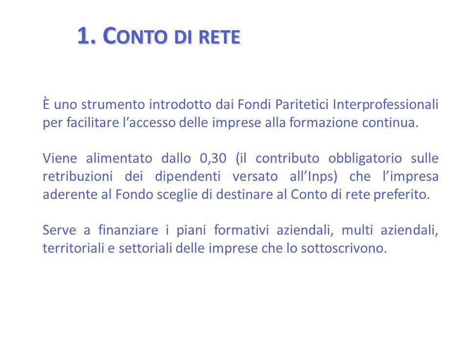 1. C ONTO DI RETE È uno strumento introdotto dai Fondi Paritetici Interprofessionali per facilitare l'accesso delle imprese alla formazione continua.