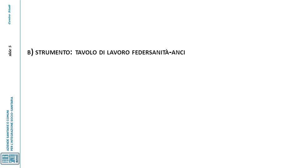 Centro Studi slide 5 B ) STRUMENTO : TAVOLO DI LAVORO FEDERSANITÀ - ANCI