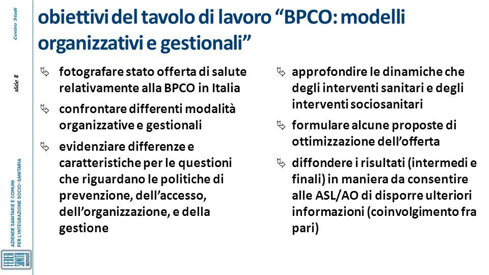 """Centro Studi slide 8 obiettivi del tavolo di lavoro """"BPCO: modelli organizzativi e gestionali""""  fotografare stato offerta di salute relativamente all"""