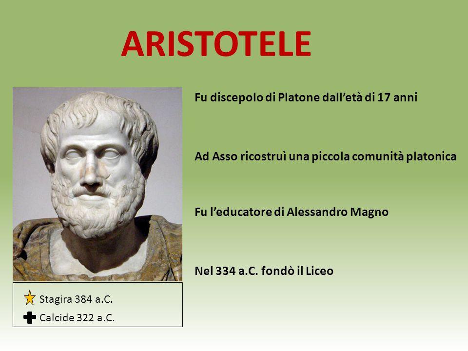ARISTOTELE Fu discepolo di Platone dall'età di 17 anni Ad Asso ricostruì una piccola comunità platonica Fu l'educatore di Alessandro Magno Nel 334 a.C