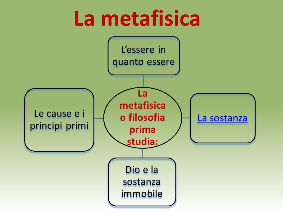 La metafisica La metafisica o filosofia prima studia: L'essere in quanto essere La sostanza Dio e la sostanza immobile Le cause e i principi primi