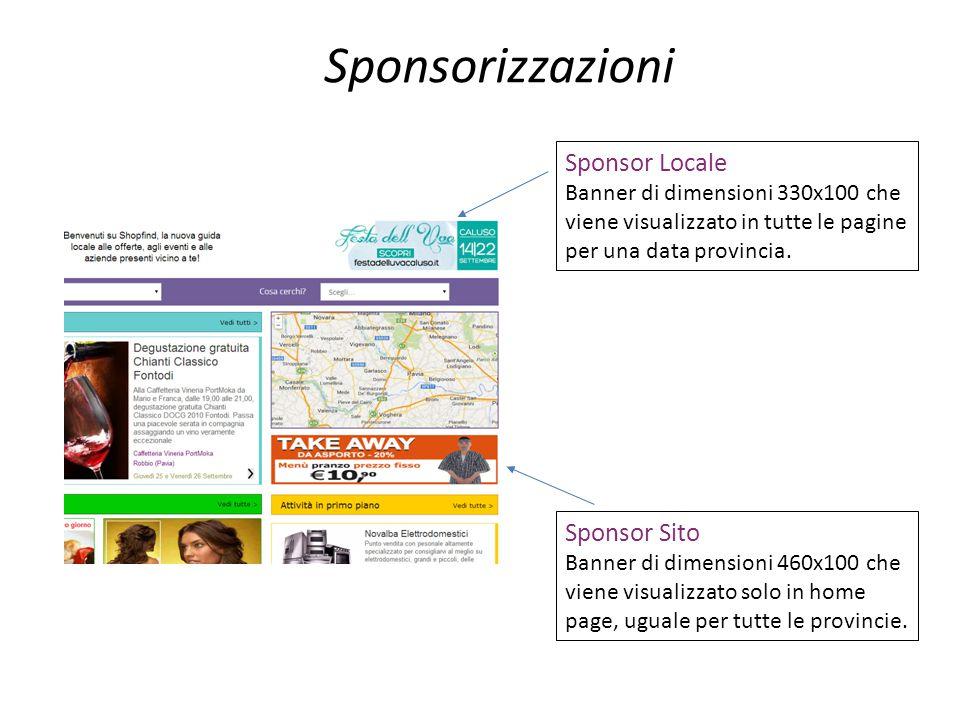 Sponsorizzazioni Sponsor Locale Banner di dimensioni 330x100 che viene visualizzato in tutte le pagine per una data provincia. Sponsor Sito Banner di