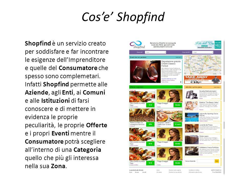 Cos'e' Shopfind Shopfind è un servizio creato per soddisfare e far incontrare le esigenze dell'Imprenditore e quelle del Consumatore che spesso sono c