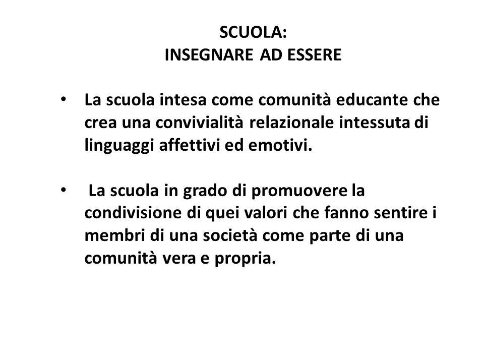 SCUOLA: INSEGNARE AD ESSERE La scuola intesa come comunità educante che crea una convivialità relazionale intessuta di linguaggi affettivi ed emotivi.