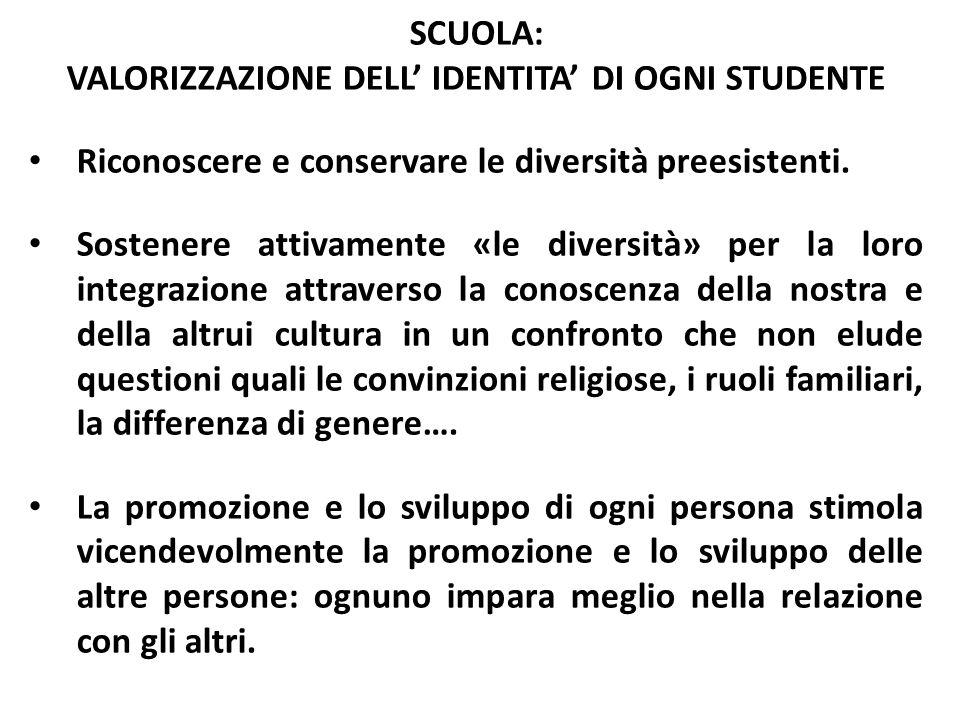 SCUOLA: VALORIZZAZIONE DELL' IDENTITA' DI OGNI STUDENTE Riconoscere e conservare le diversità preesistenti. Sostenere attivamente «le diversità» per l