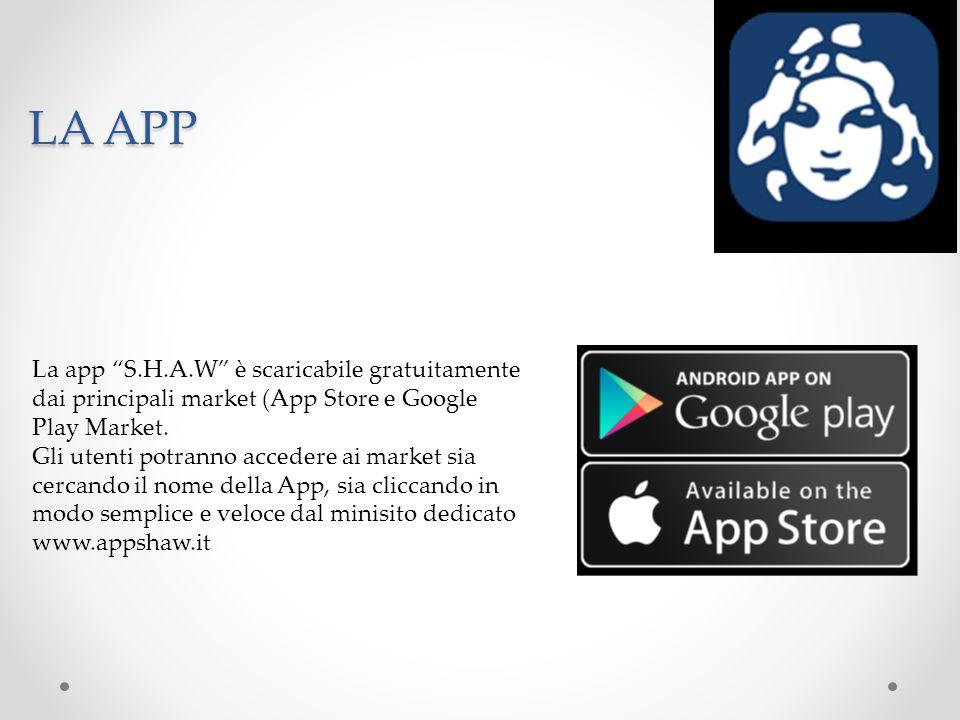 """LA APP La app """"S.H.A.W"""" è scaricabile gratuitamente dai principali market (App Store e Google Play Market. Gli utenti potranno accedere ai market sia"""