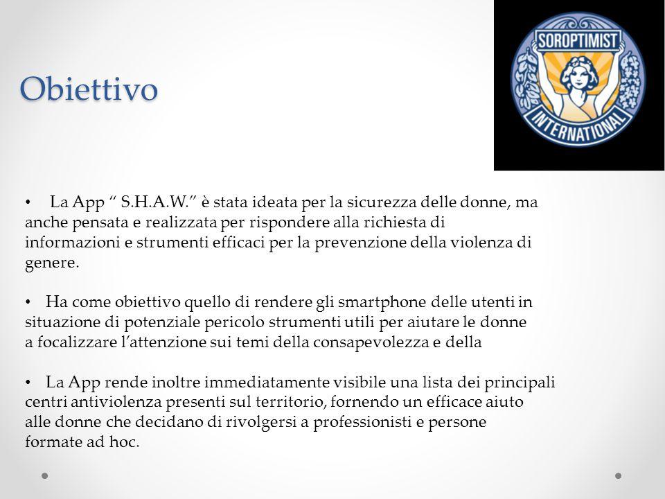 """Obiettivo La App """" S.H.A.W."""" è stata ideata per la sicurezza delle donne, ma anche pensata e realizzata per rispondere alla richiesta di informazioni"""