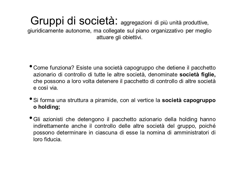 Gruppi di società: aggregazioni di più unità produttive, giuridicamente autonome, ma collegate sul piano organizzativo per meglio attuare gli obiettiv