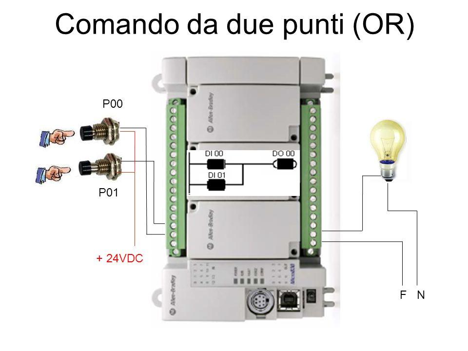 Comando da due punti (OR) P00 P01 + 24VDC F N
