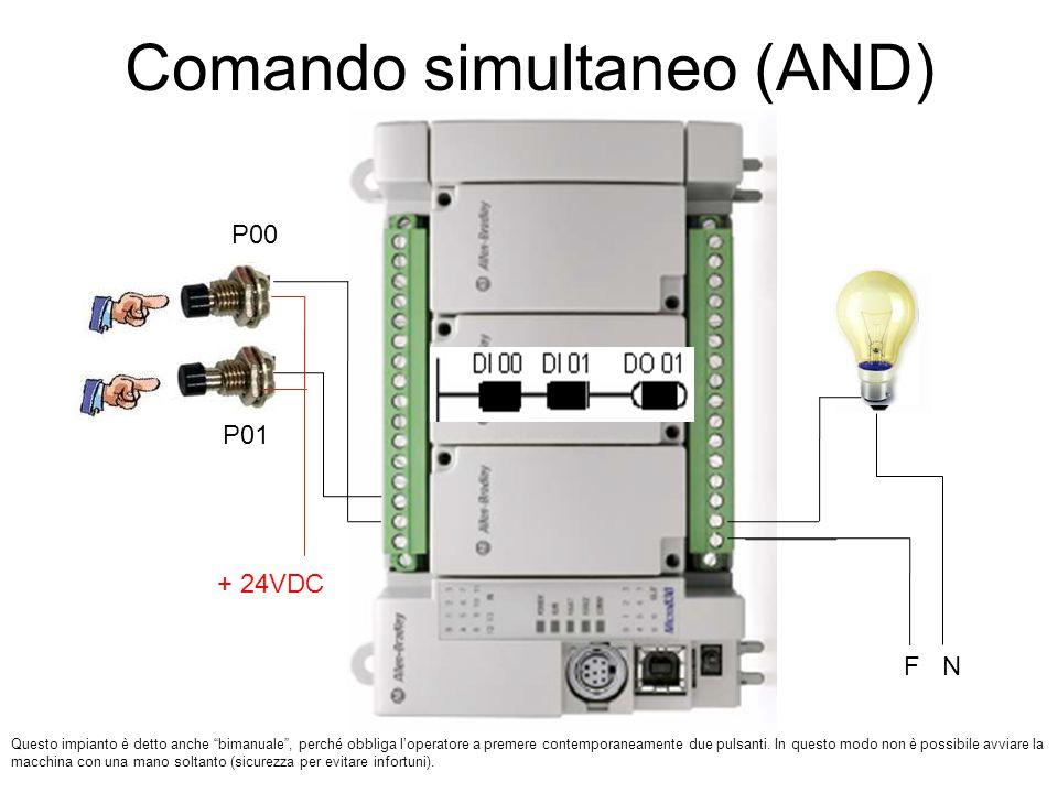 """Comando simultaneo (AND) P00 P01 Questo impianto è detto anche """"bimanuale"""", perché obbliga l'operatore a premere contemporaneamente due pulsanti. In q"""