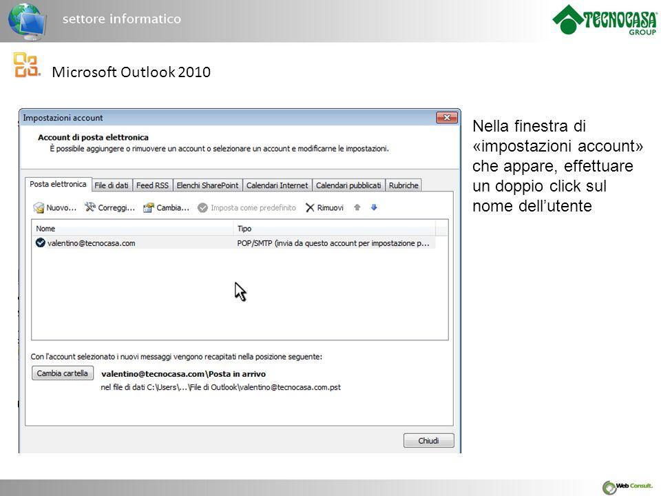 Microsoft Outlook 2010 Apparirà un'ulteriore finestra con le impostazioni utente.