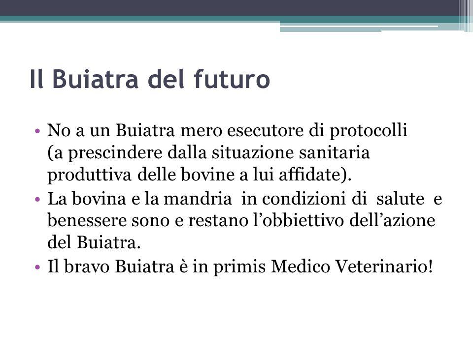 Il Buiatra del futuro No a un Buiatra mero esecutore di protocolli (a prescindere dalla situazione sanitaria produttiva delle bovine a lui affidate).