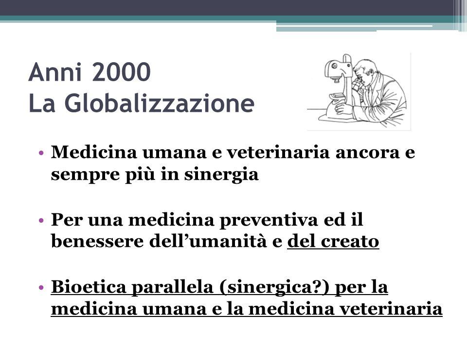 Anni 2000 La Globalizzazione Medicina umana e veterinaria ancora e sempre più in sinergia Per una medicina preventiva ed il benessere dell'umanità e d