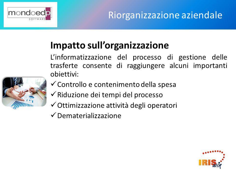 Riorganizzazione aziendale Impatto sull'organizzazione L'informatizzazione del processo di gestione delle trasferte consente di raggiungere alcuni imp