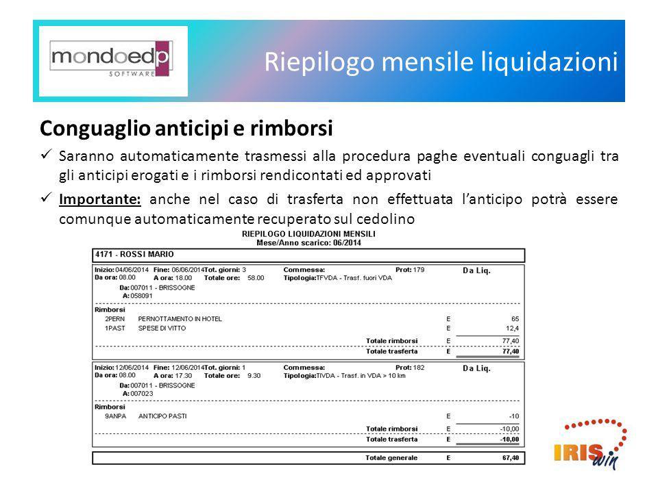 Riepilogo mensile liquidazioni Conguaglio anticipi e rimborsi Saranno automaticamente trasmessi alla procedura paghe eventuali conguagli tra gli antic