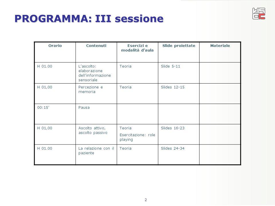 2 PROGRAMMA: III sessione OrarioContenutiEsercizi e modalità d'aula Slide proiettateMateriale H 01.00L'ascolto: elaborazione dell'informazione sensori