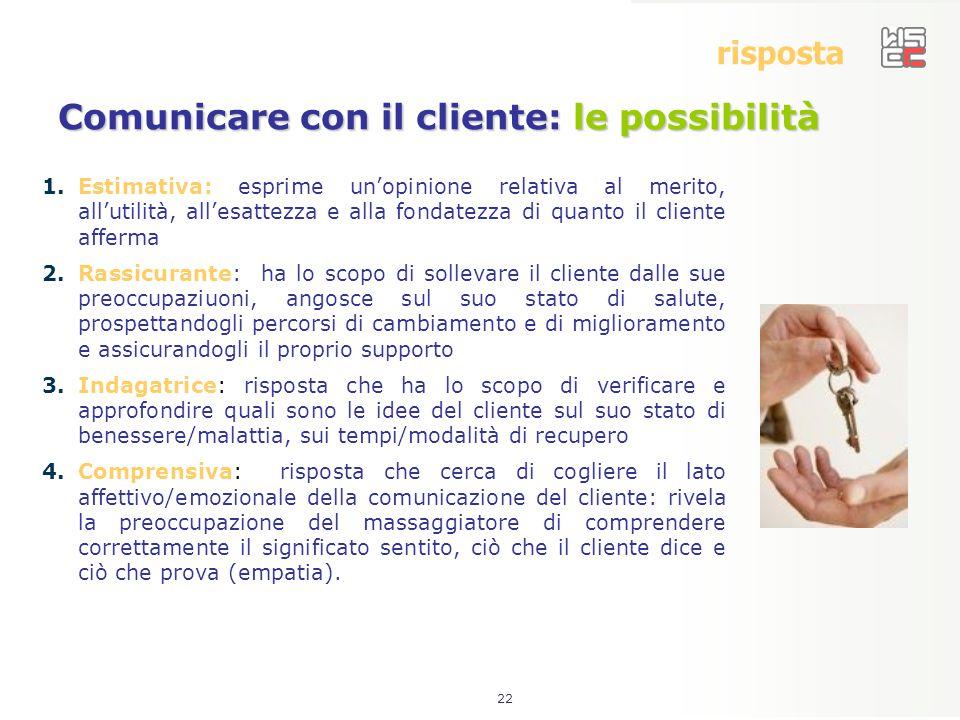 22 risposta Comunicare con il cliente: le possibilità 1.Estimativa: esprime un'opinione relativa al merito, all'utilità, all'esattezza e alla fondatez
