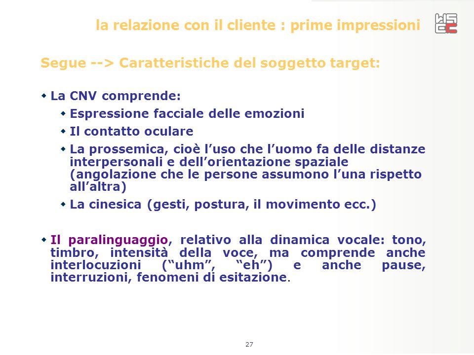 27 la relazione con il cliente : prime impressioni Segue --> Caratteristiche del soggetto target:  La CNV comprende:  Espressione facciale delle emo