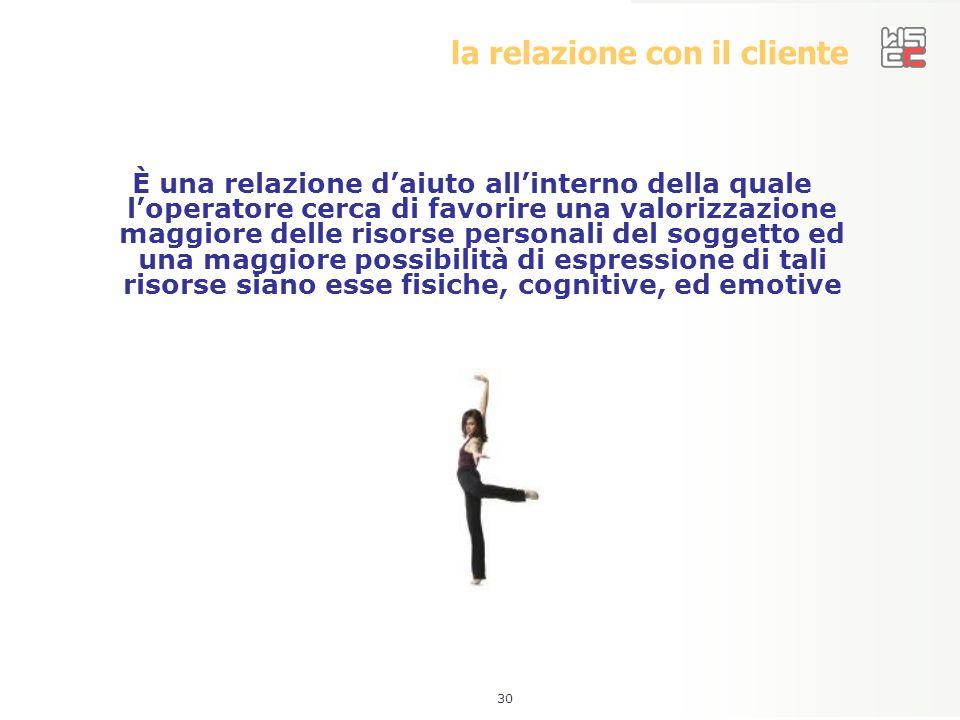 30 la relazione con il cliente È una relazione d'aiuto all'interno della quale l'operatore cerca di favorire una valorizzazione maggiore delle risorse