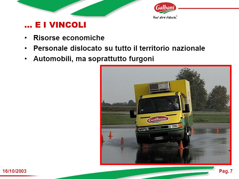 Pag. 716/10/2003 … E I VINCOLI Risorse economiche Personale dislocato su tutto il territorio nazionale Automobili, ma soprattutto furgoni