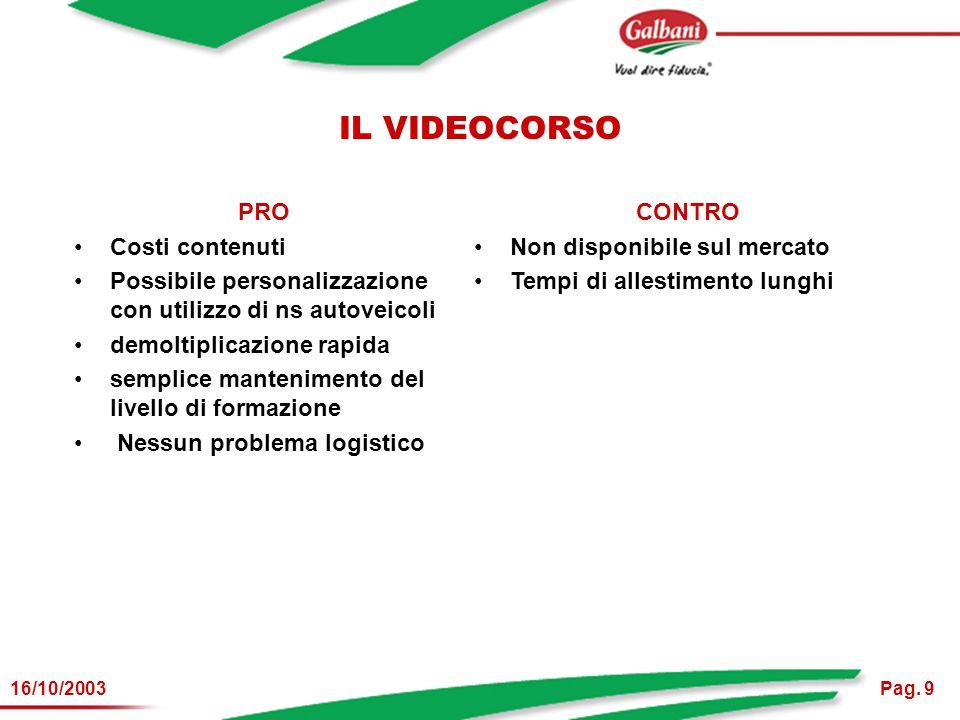 Pag. 916/10/2003 IL VIDEOCORSO PRO Costi contenuti Possibile personalizzazione con utilizzo di ns autoveicoli demoltiplicazione rapida semplice manten