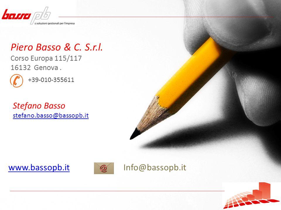 Piero Basso & C. S.r.l. Corso Europa 115/117 16132 Genova.