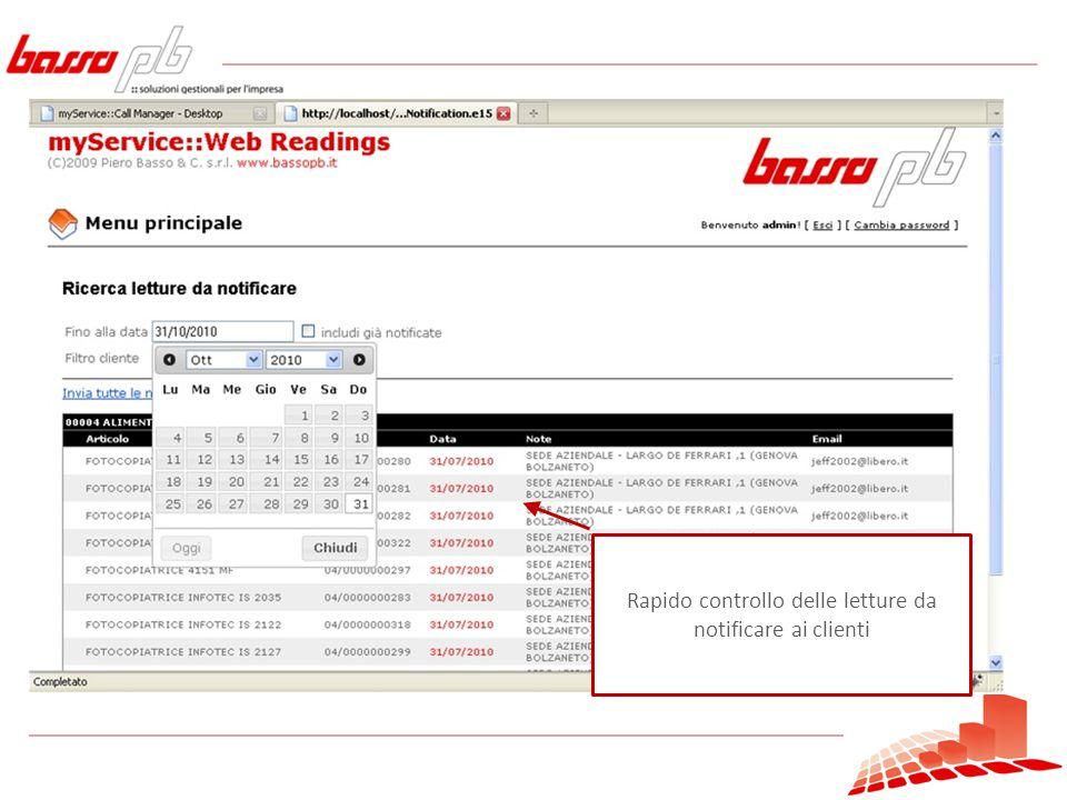 Rapido controllo delle letture da notificare ai clienti