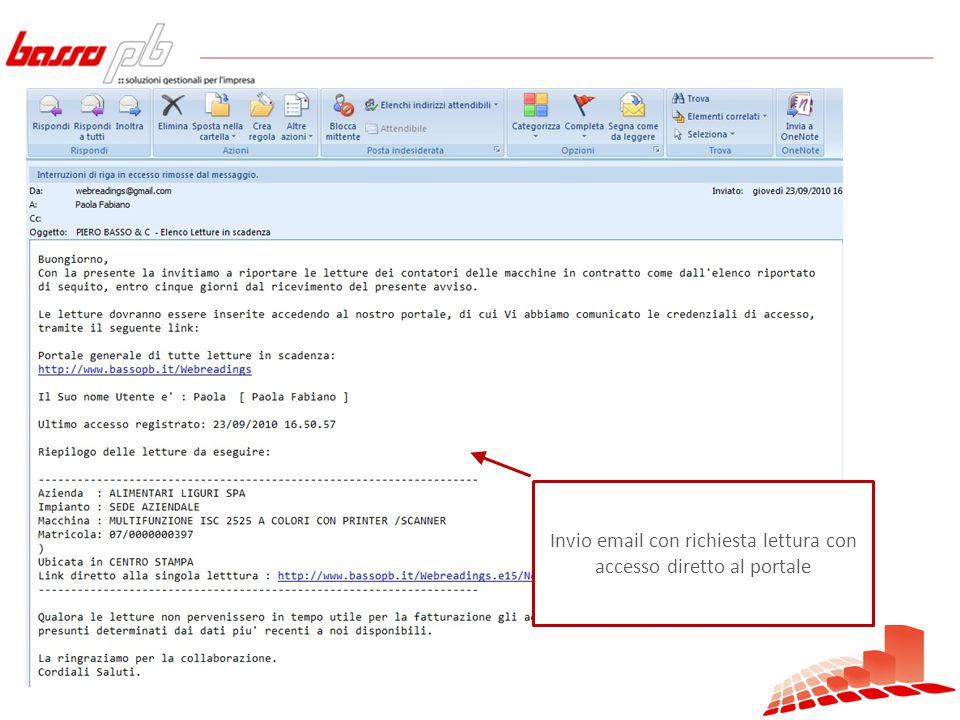Invio email con richiesta lettura con accesso diretto al portale