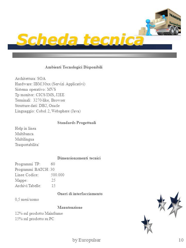 by Europulsar10 Scheda tecnica Ambienti Tecnologici Disponibili Architettura: SOA Hardware: IBM 30xx (Servizi Applicativi) Sistema operativo: MVS Tp m