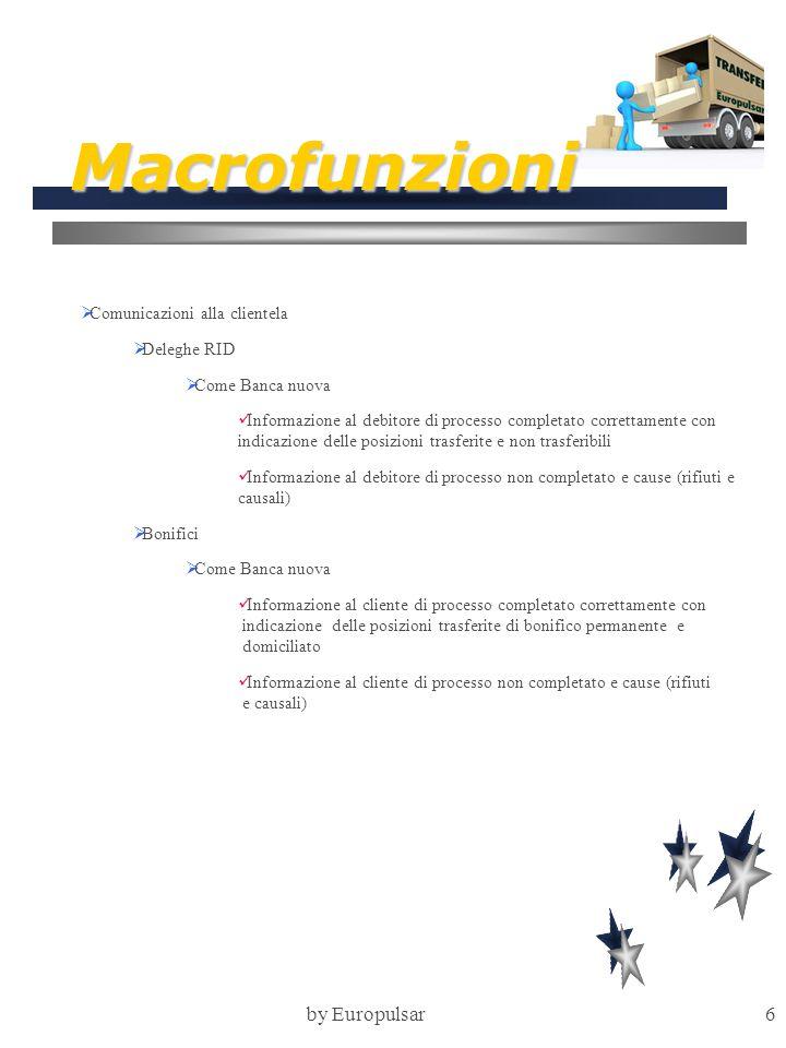 by Europulsar6 Macrofunzioni  Comunicazioni alla clientela  Deleghe RID  Come Banca nuova Informazione al debitore di processo completato correttam