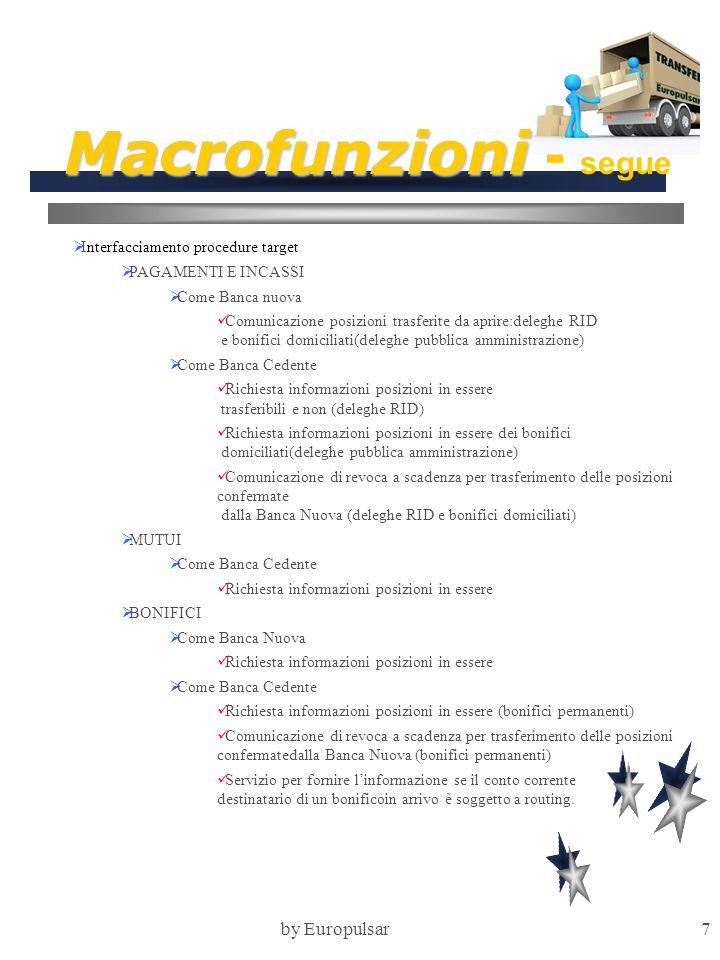 by Europulsar7 Macrofunzioni Macrofunzioni - segue  Interfacciamento procedure target  PAGAMENTI E INCASSI  Come Banca nuova Comunicazione posizion