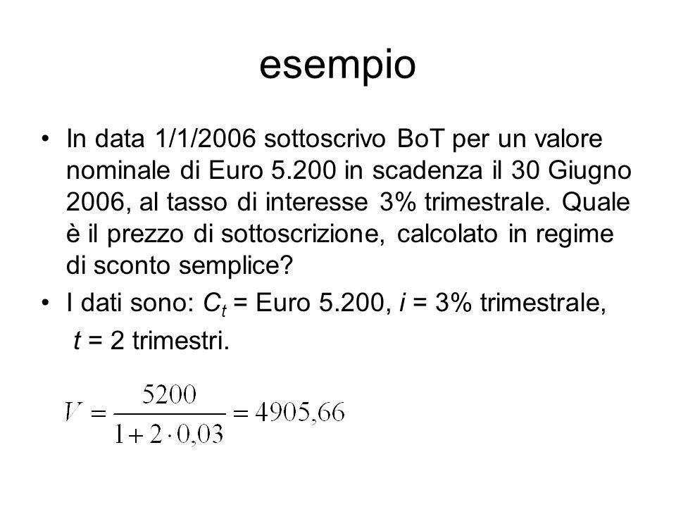 esempio In data 1/1/2006 sottoscrivo BoT per un valore nominale di Euro 5.200 in scadenza il 30 Giugno 2006, al tasso di interesse 3% trimestrale.