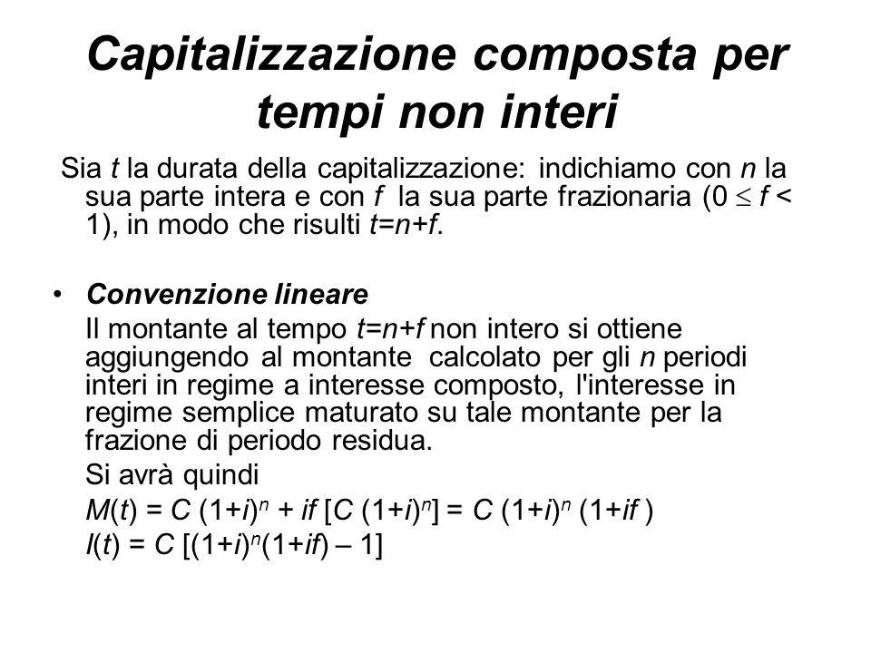 Capitalizzazione composta per tempi non interi Sia t la durata della capitalizzazione: indichiamo con n la sua parte intera e con f la sua parte frazionaria (0  f < 1), in modo che risulti t=n+f.