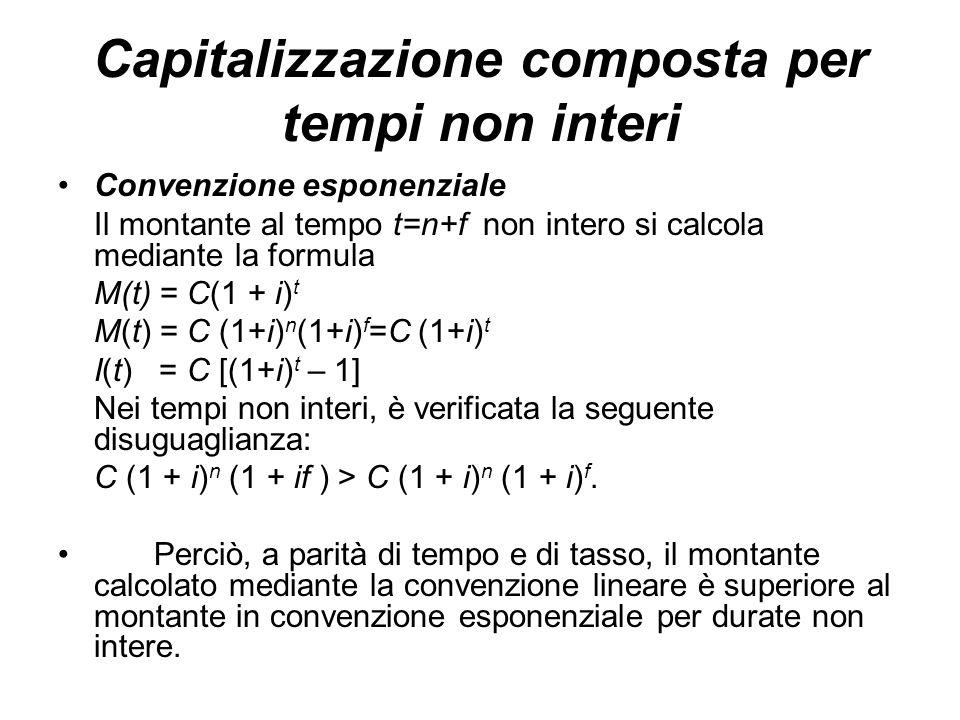 Convenzione esponenziale Il montante al tempo t=n+f non intero si calcola mediante la formula M(t) = C(1 + i) t M(t) = C (1+i) n (1+i) f =C (1+i) t I(t) = C [(1+i) t – 1] Nei tempi non interi, è verificata la seguente disuguaglianza: C (1 + i) n (1 + if ) > C (1 + i) n (1 + i) f.