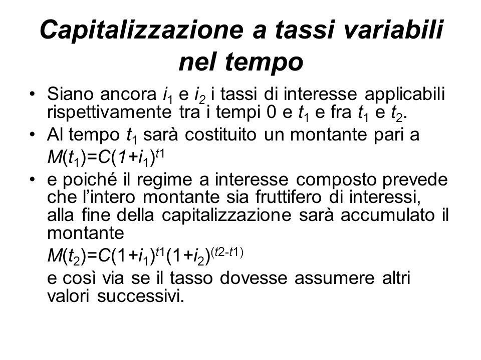 Capitalizzazione a tassi variabili nel tempo Siano ancora i 1 e i 2 i tassi di interesse applicabili rispettivamente tra i tempi 0 e t 1 e fra t 1 e t 2.