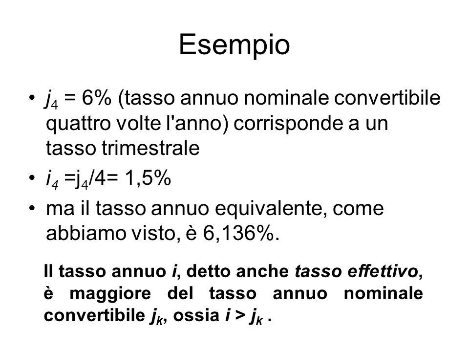 Esempio j 4 = 6% (tasso annuo nominale convertibile quattro volte l anno) corrisponde a un tasso trimestrale i 4 =j 4 /4= 1,5% ma il tasso annuo equivalente, come abbiamo visto, è 6,136%.