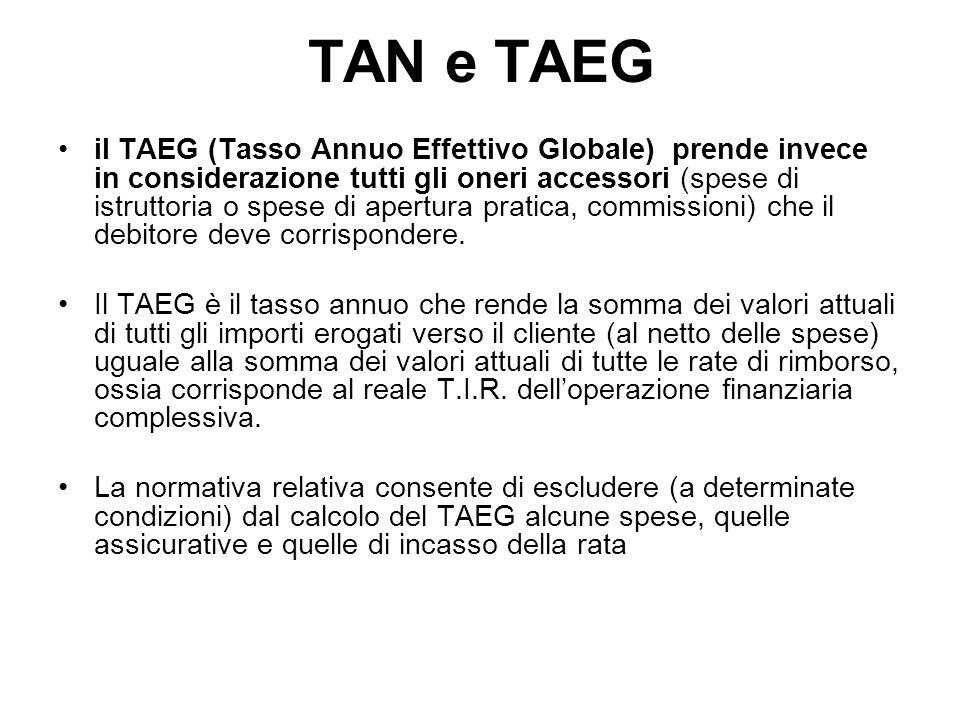 il TAEG (Tasso Annuo Effettivo Globale) prende invece in considerazione tutti gli oneri accessori (spese di istruttoria o spese di apertura pratica, commissioni) che il debitore deve corrispondere.