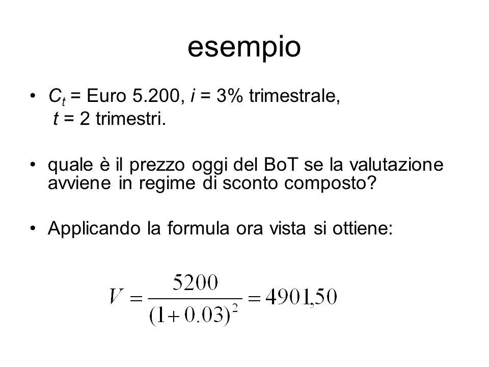 esempio C t = Euro 5.200, i = 3% trimestrale, t = 2 trimestri.