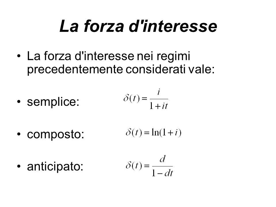 La forza d interesse nei regimi precedentemente considerati vale: semplice: composto: anticipato: La forza d interesse