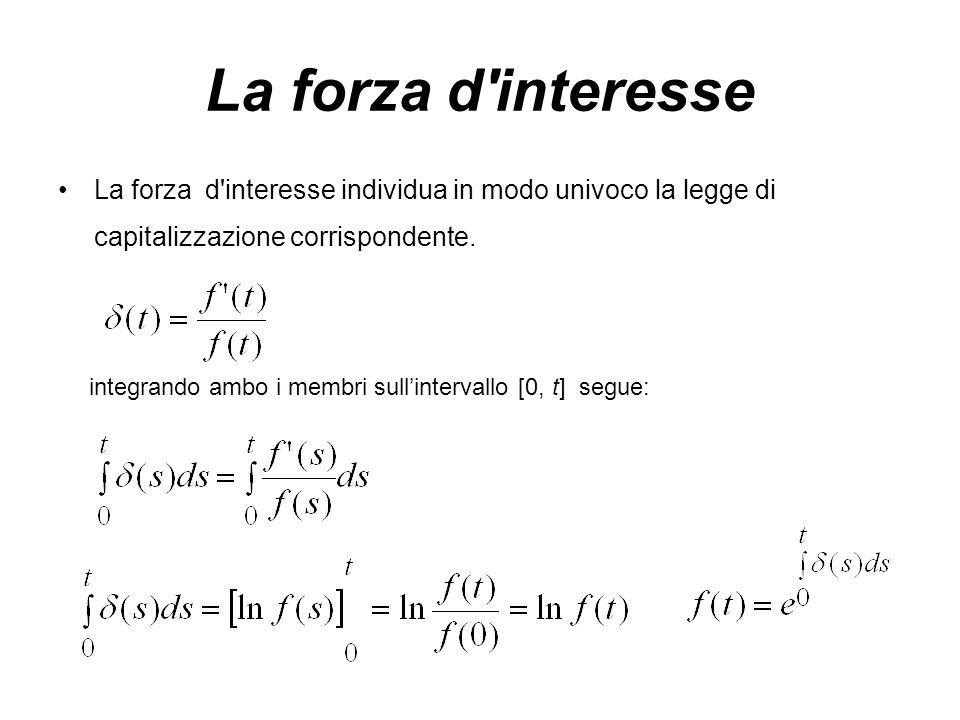 La forza d interesse individua in modo univoco la legge di capitalizzazione corrispondente.