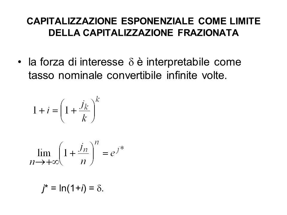 CAPITALIZZAZIONE ESPONENZIALE COME LIMITE DELLA CAPITALIZZAZIONE FRAZIONATA la forza di interesse  è interpretabile come tasso nominale convertibile infinite volte.