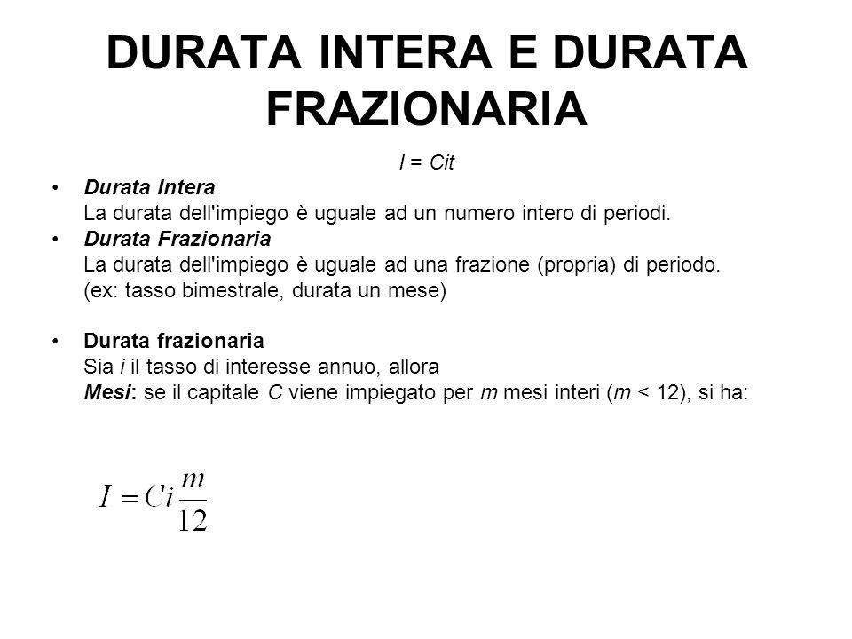DURATA INTERA E DURATA FRAZIONARIA I = Cit Durata Intera La durata dell impiego è uguale ad un numero intero di periodi.